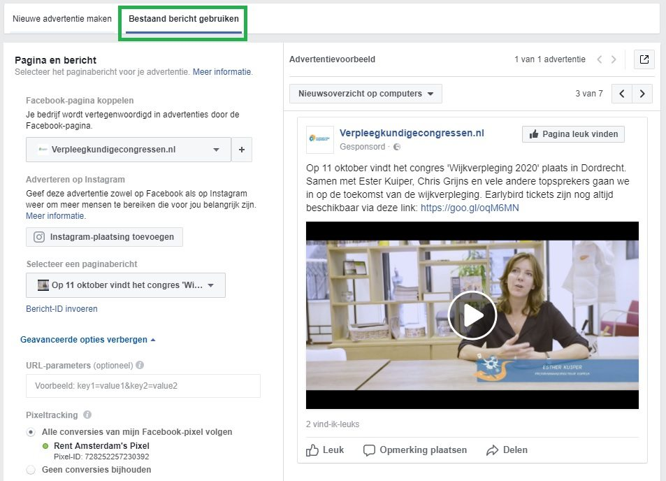 post promoten facebook ads