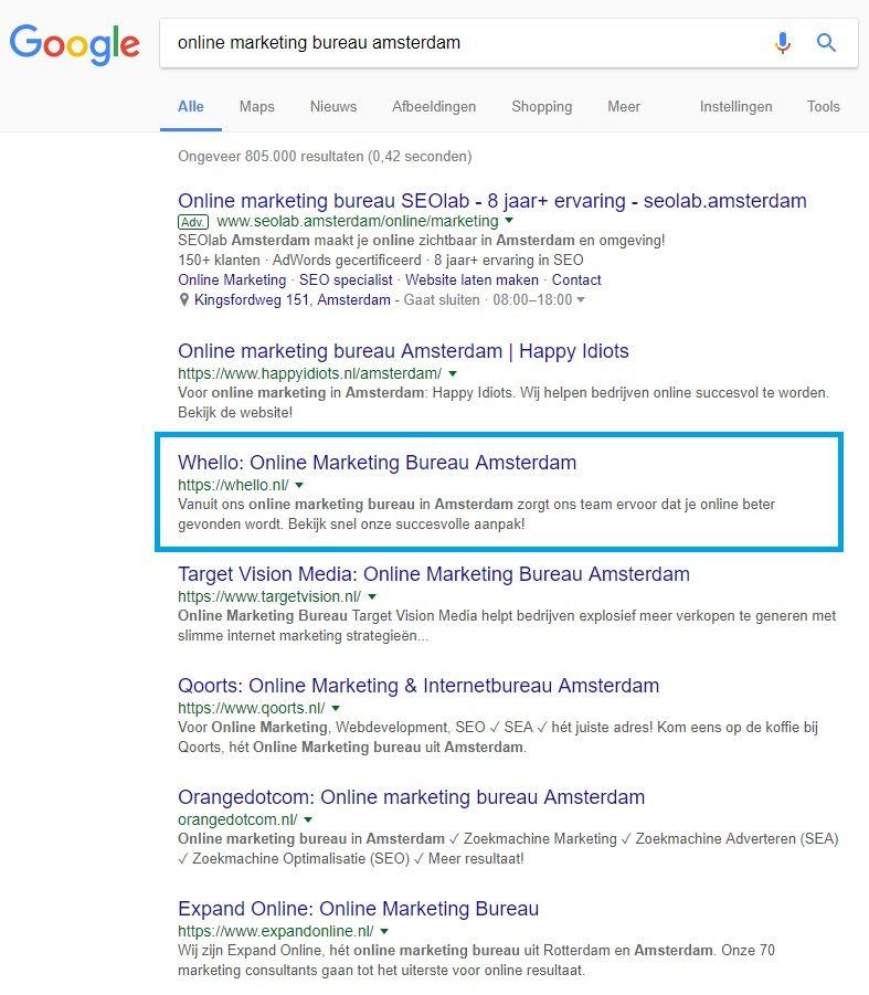 top ranking in Google