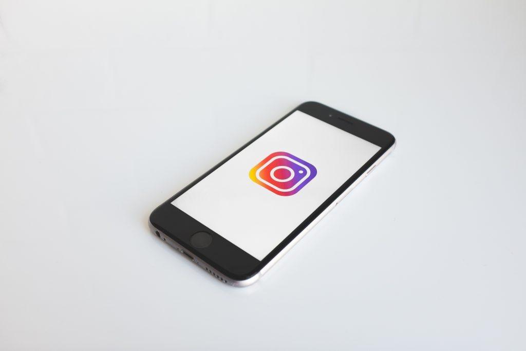 instagram logo on phone